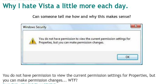Vista Permissions - You do not have permission to view the current permission settings for Properties, but you can make permission changes