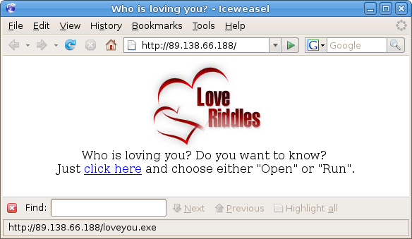 Who is loving you? Do you want to know? Just click here and choose either Open or Run